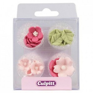 Culpitt Sugar Decorations Flowers & Leaves Pink pk/16