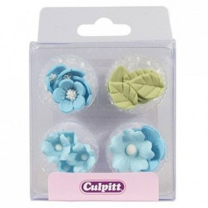 Culpitt Sugar Decorations Flowers & Leaves Blue pk/16