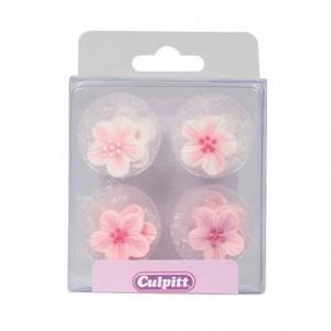 Décoration en sucre Culpitt fleurs roses 12 pièces