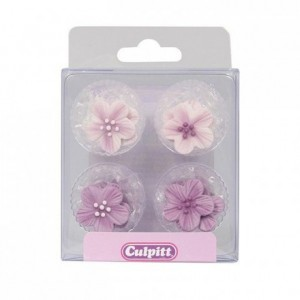 Culpitt Sugar Decorations Flowers Purple pk/12