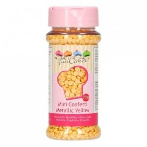 Confettis jaunes métallisés en sucre FunCakes 70 g