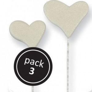 Cœurs en sucre perlé sur tiges plastiques par 3