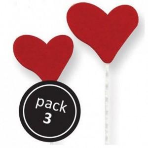 Cœurs en sucre rouge sur tiges plastiques par 3