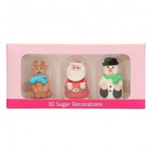 Décorations en sucre 3D FunCakes figurines de Noël 3 pièces