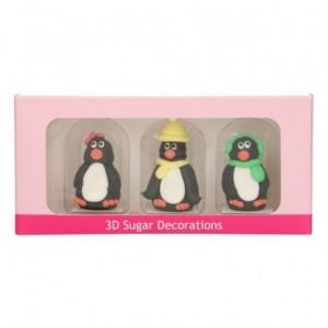 Décorations en sucre 3D FunCakes pingouins 3 pièces