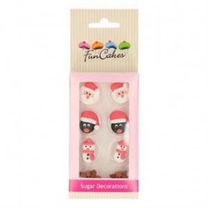 Décorations en sucre FunCakes figurines de Noël 8 pièces