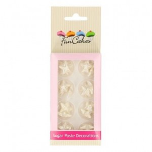 FunCakes Sugar Paste Decorations Stars pearl white Set/24