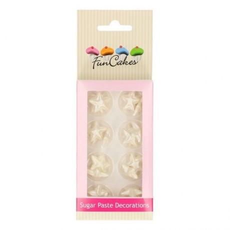 Décorations en sucre FunCakes étoiles argent 24 pièces