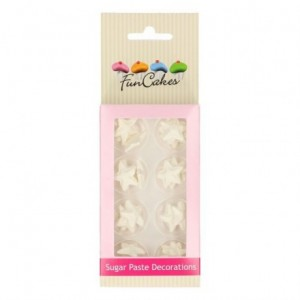 Décorations en sucre FunCakes étoiles blanc perlé 24 pièces