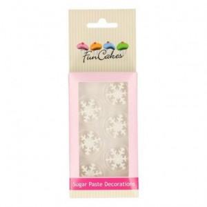 Décorations en sucre FunCakes flocons de neige argent 6 pièces