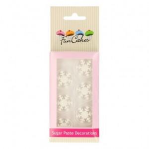 FunCakes Sugar Paste Decorations Ice Crystal White Set/6