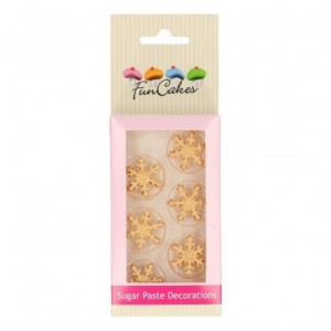 FunCakes Sugar Paste Decorations Ice Crystal Gold Set/6