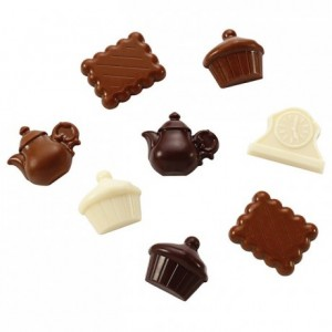 """Chocolate mould polycarbonate 20 """"tea time"""" sweets"""