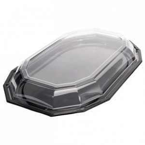 Tray octogonal PS black 450 x 300 mm (50 pcs)