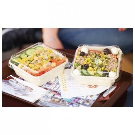 Square fiber salad bowl 120 cL (480 pcs)