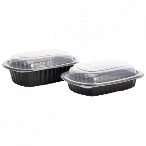 Container oval PP black 95 cL (250 pcs)