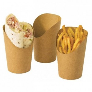 Pot wrap et frites en carton brun (lot de 1000)