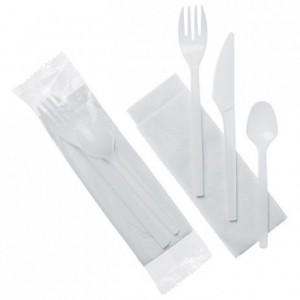 Ensemble couverts Eco blancs 4 en 1 serviette couteau fourchette petite cuillère (lot de 500)