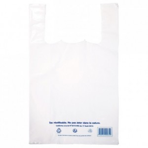 Sac bretelle en PEBD blanc 280 x 480 mm (lot de 500)