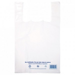 Sac bretelle en PEBD blanc 300 x 540 mm (lot de 400)