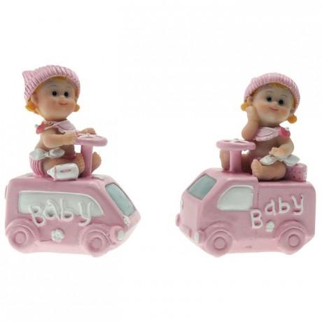Bébé en voiture rose (lot de 4)