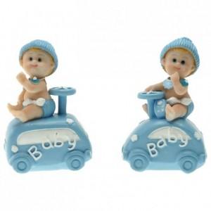 Bébé en voiture bleu (lot de 4)