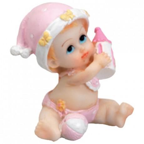 Bébé bonnet rose assis (lot de 6)