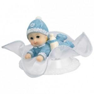 Bébé sur socle tulle bleu (lot de 12)