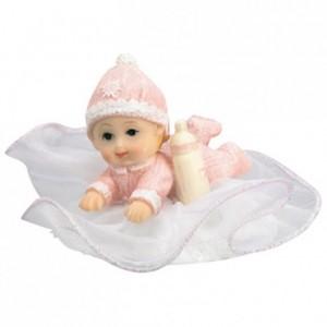 Bébé sur socle tulle rose (lot de 12)