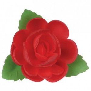 Carmine rose edible decoration (24 pcs)