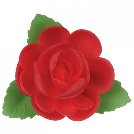 Carmine rose edible decoration (24 pcs)