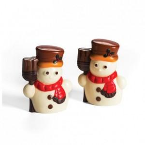 Moule 2 bonhommes de neige en polycarbonate pour chocolat