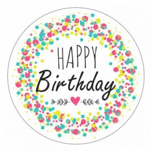 Décor azyme pastille « Happy Birthday » (lot de 24)