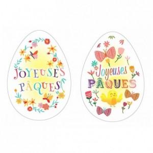 Décor azyme œuf «Joyeuses Pâques» (lot de 24)
