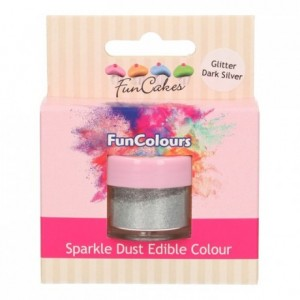 FunCakes Edible FunColours Sparkle Dust Glitter DarkSilver