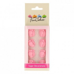 Décors en sucre FunCakes Pieds de Bébé Roses 16 pièces