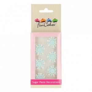 Décors en sucre FunCakes Flocons de neige bleu 6 pièces