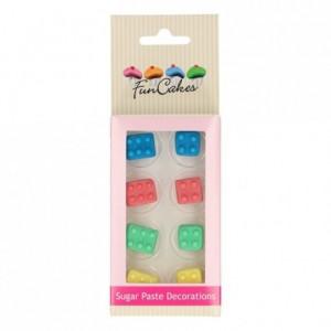Décors en sucre FunCakes Briques de construction 8 pièces