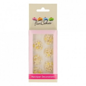 Décors en pâte d'amande FunCakes Chrysanthèmes blancs jaunes 30 pièces