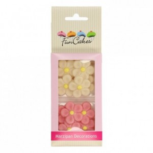 FunCakes Marzipan Decorations Daisies White/Pink Set/12