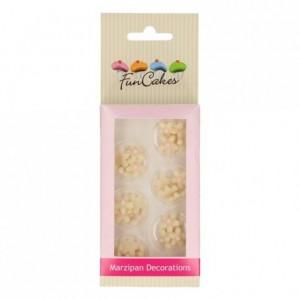 Décors en pâte d'amande FunCakes Chrysanthèmes blancs roses 30 pièces