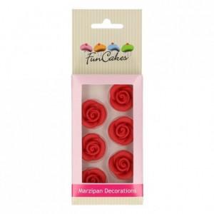 Décors en pâte d'amande FunCakes Roses Rouges 6 pièces