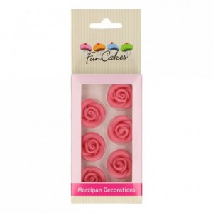 FunCakes Marzipan Decorations Roses Pink Set/6