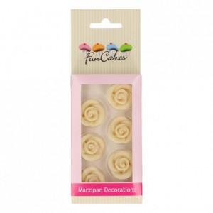 Décors en pâte d'amande FunCakes Roses Blanches 6 pièces