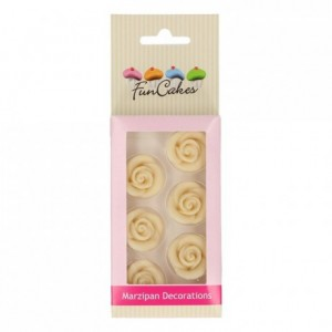 FunCakes Marzipan Decorations Roses White Set/6