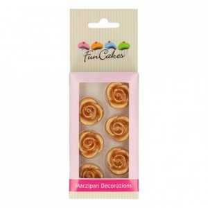 FunCakes Marzipan Decorations Roses Gold Set/6