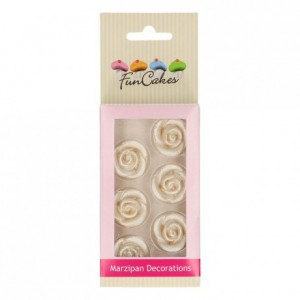 FunCakes Marzipan Decorations Roses Silver Set/6