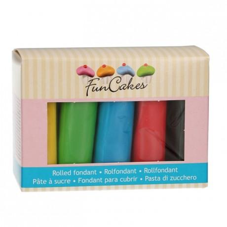 Kit pâtes à sucre FunCakes couleurs de base 5 x 100 g