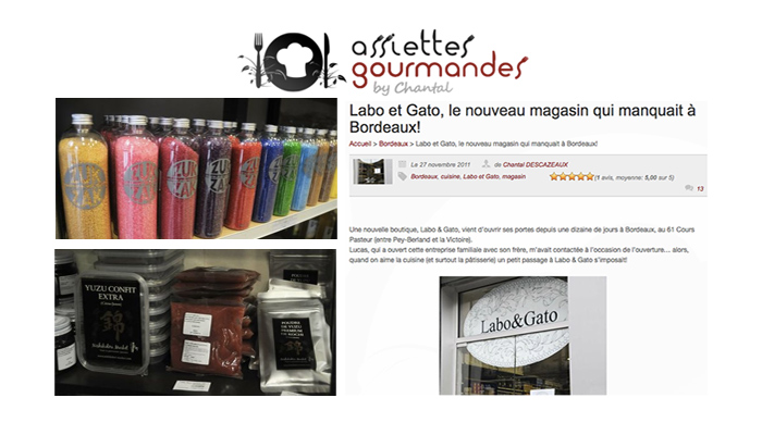 On parle de nous ! Assiettes gourmandes, labo&gato,  professional cake baking supplies