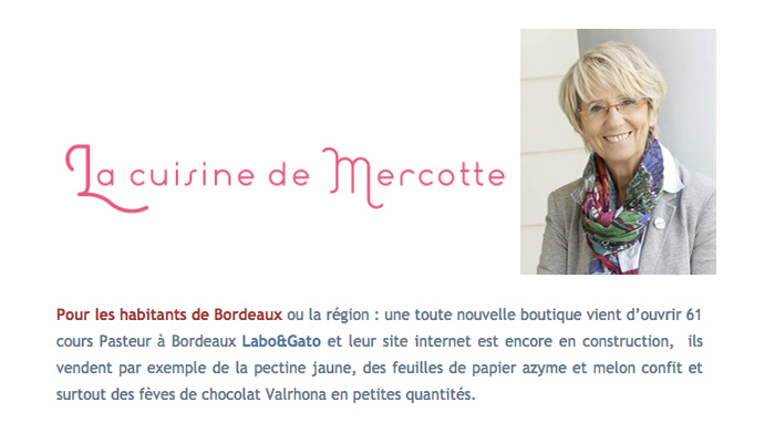 on parle de nous ! Mercotte, Labo&gato,  professional cake baking supplies